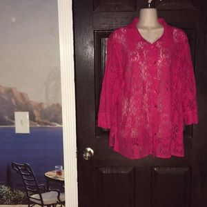 Notations Woman HotPink Stretch Lace Top 1X Blouse